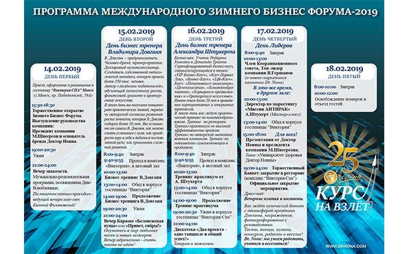Программа международного Зимнего Бизнес Форума 2019